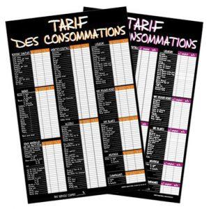 Tarif consommations bar 40x60cm orange ou violet au choix