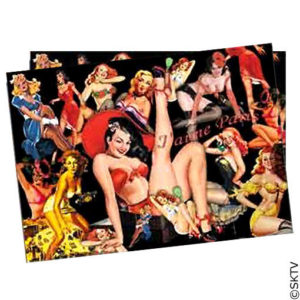 sets de table papier pin-up : le bloc de 40 sets 30x40cm.
