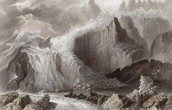 gravure représentant la Mer de Glace
