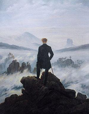 """""""Le Voyageur au-dessus de la mer de nuages"""" du romantique allemand Caspar David Friedrich (1818)"""