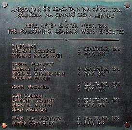 Kilmainham Gaol : plaque mémorial de l'insurrection de Pâques 1916