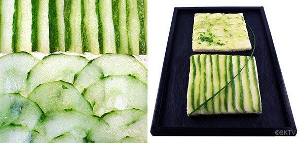 Sandwiches anglais graphiques au concombre