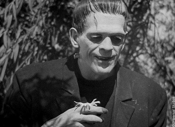 Le Frankenstein de Whale (1931) : le sourire de la Créature quand elle découvre le parfum des fleurs
