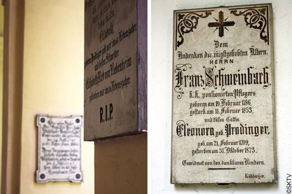 Cimetière St. Sebastian de Salzbourg : plaques écriture gothique