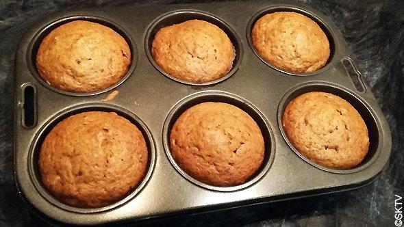 Muffins potiron noix cranberry à la sortie du four