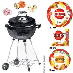 Vaisselle jetable BBQ Party : assiettes plates et à dessert coordonnées, serviettes en papier décorées