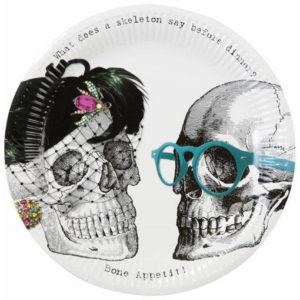 Pour un Halloween vintage, des assiettes jetables au décor de squelettes dandy