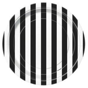 Petites assiettes jetables noir et blanc 18cm