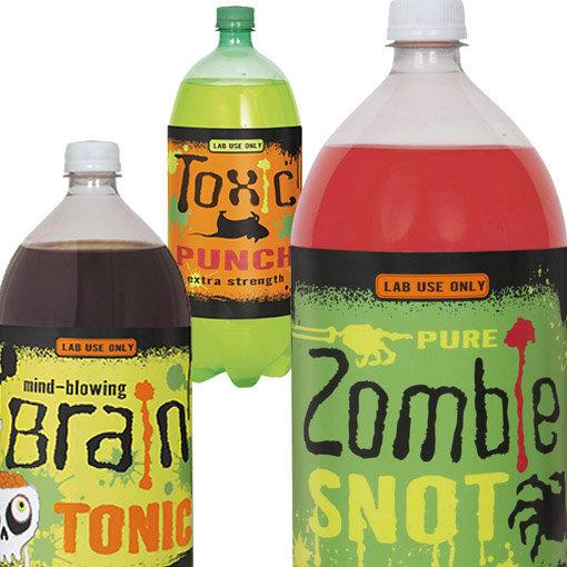 étiquettes bouteilles halloween : tonifiant pour cerveau, morve de zombie, etc.
