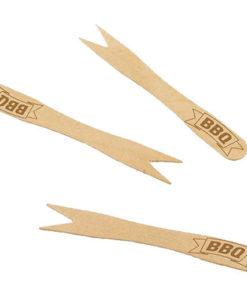 Mini fourchettes apéritif en bois étiquetées BBQ