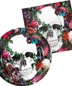 Set vaisselle jetable flower skull pour halloween