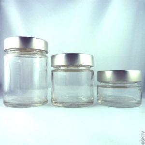pot verre et alu brossé 3 contenances