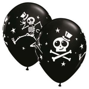 ballons halloween noir et blanc à décor de squelettes