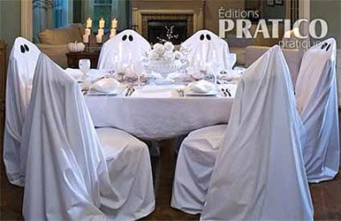 Déco à thème fantôme : décor de table halloween en blanc