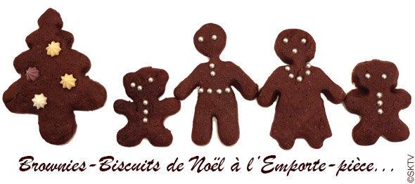 Brownies-biscuits de Noël décorés