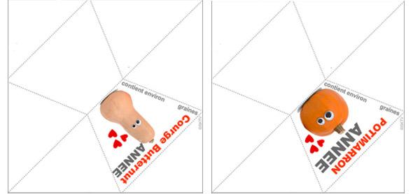 Sachets de graines de courge Halloween : 2 modèles à imprimer