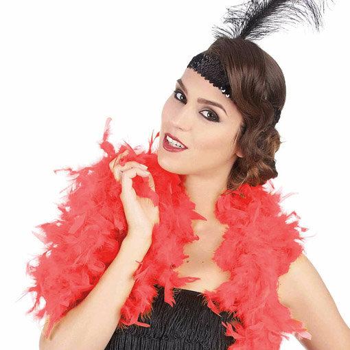 Boa cabaret rouge : accessoire de déguisement