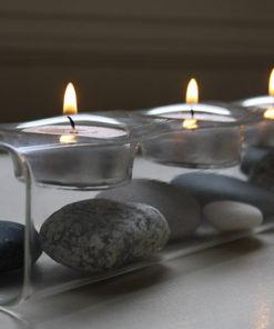 Photophore design en verre 3 bougies chauffe-plat