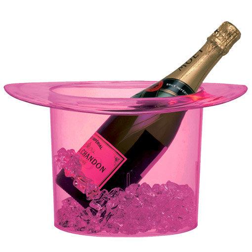 Seau à champagne rose transparent forme gibus