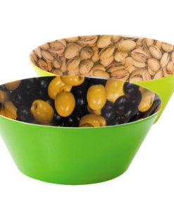 Lot 2 bols apéritifs assortis en mélamine imprimé motif olives et pistaches