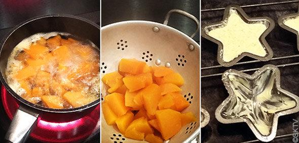 Flans au potiron, jambon cru et graines de courges : étapes de préparation