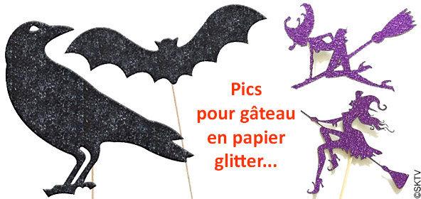 Pics apéro halloween : décoration de pâtisserie en papier glitter