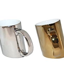 Mug design asymétrique métallisé or ou argent