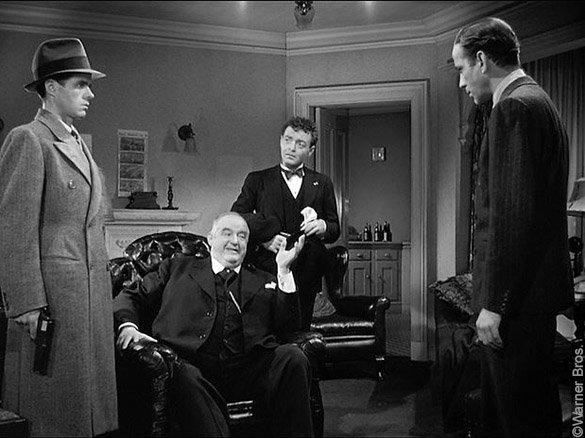 Le Faucon maltais, photo du film de John Huston : Wilmer, Gutman, Cairo et Spade