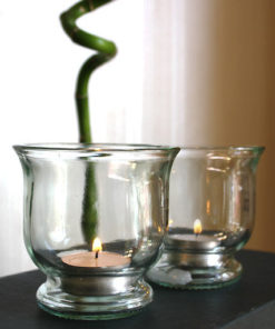 photophore tulipe en verre recyclé transparent, forme évasée