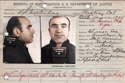 Fiche d'Al Capone à son arrivée à la prison d'Alcatraz