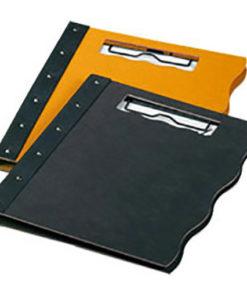 support de notes en bois recyclé noir et ocre superposés