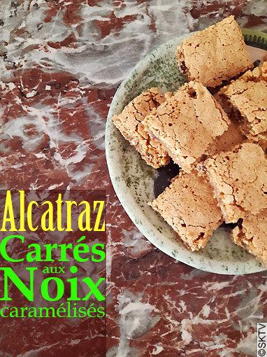 Carrés au Noix d'Alcatraz : photo d'une assiette avec titre