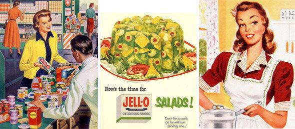 Recettes d'Alcatraz : images de la ménagère américaine des fifties, achetant des conserves et cuisinant des saldes en gelée...