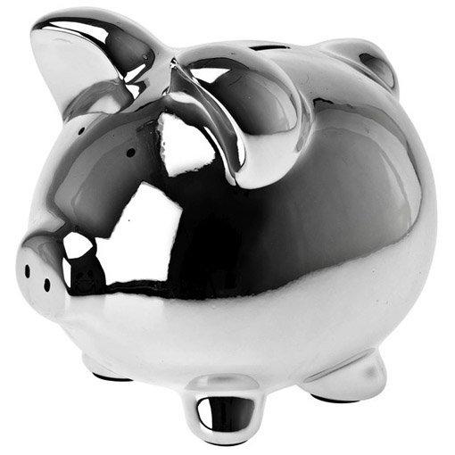 Tirelire cochon en céramique finition chromée