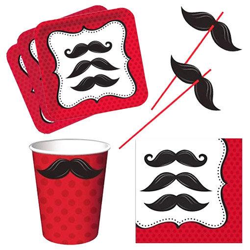 Vaisselle jetable moustache : assiettes carrées, serviettes en papier décorées, gobelets et pailles