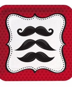 vaisselle jetable moustache : assiette carrée 18cm