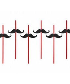 Vaisselle jetable moustache : pailles rouges avec moustache en carton