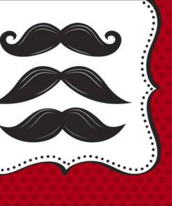 Vaisselle jetable moustache : gros plan d'une serviette en papier décorée de 3 moustaches noires