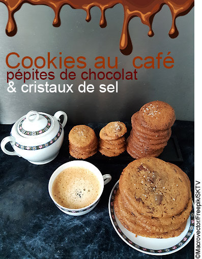 Coolies au café, pépites de chocolat et cristaux de sel : photo avec titre en surimpression
