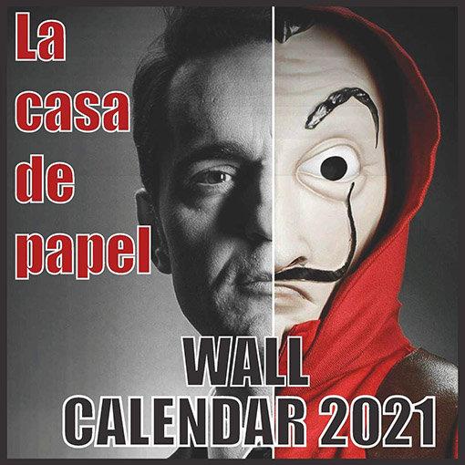 Calendriers séries 2021 : couverture du calendrier biface de la Casa de Papel